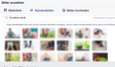 facebook werbung standardbilder
